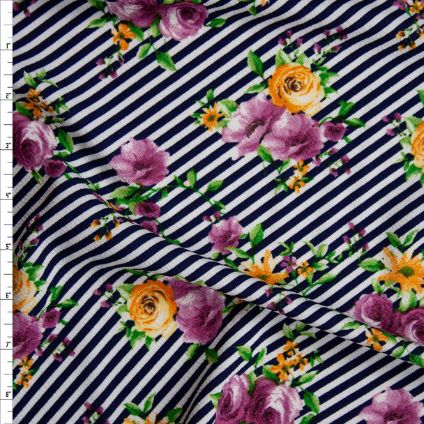 Purple and Yellow Rose Floral on Navy and White Diagonal Stripe Crepe-Like Liverpool Knit Fabric By The Yard