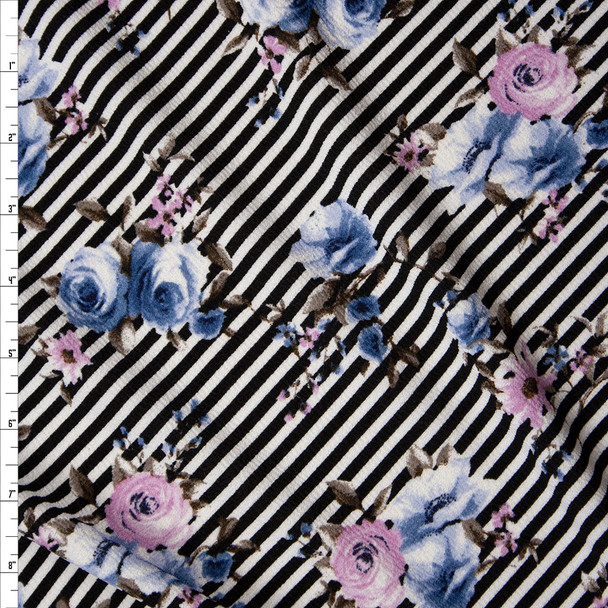 Light Blue and Lavender Floral on Black and White Diagonal Stripe Crepe-Like Liverpool Knit Fabric By The Yard
