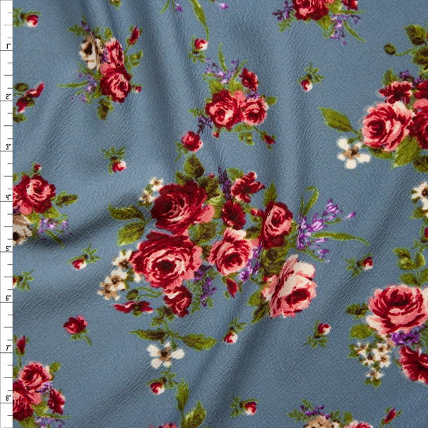 Rose Cluster Floral on Slate Gray Crepe-Like Liverpool Knit Fabric By The Yard
