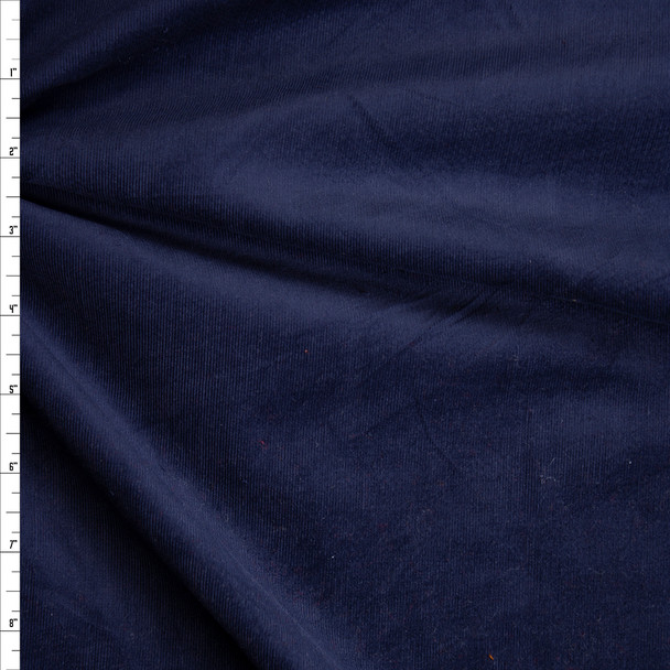 Navy Blue Light Midweight Stretch Corduroy Fabric By The Yard
