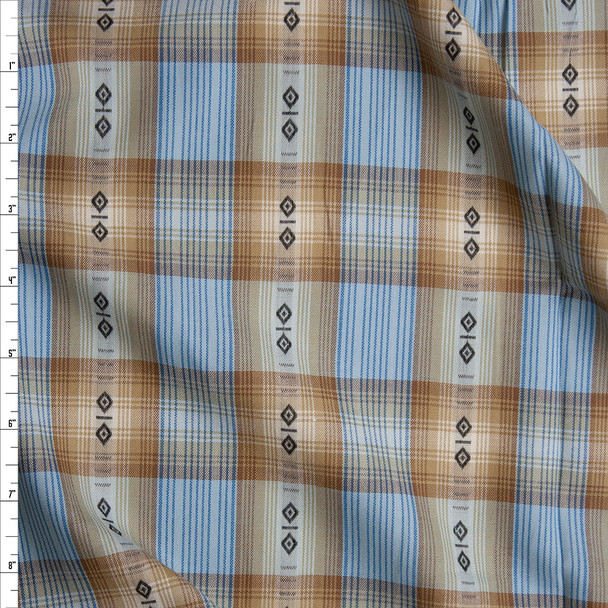 Tan and Blue Ponderosa Plaid Cotton Shirting from 'Robert Kaufman' Fabric By The Yard
