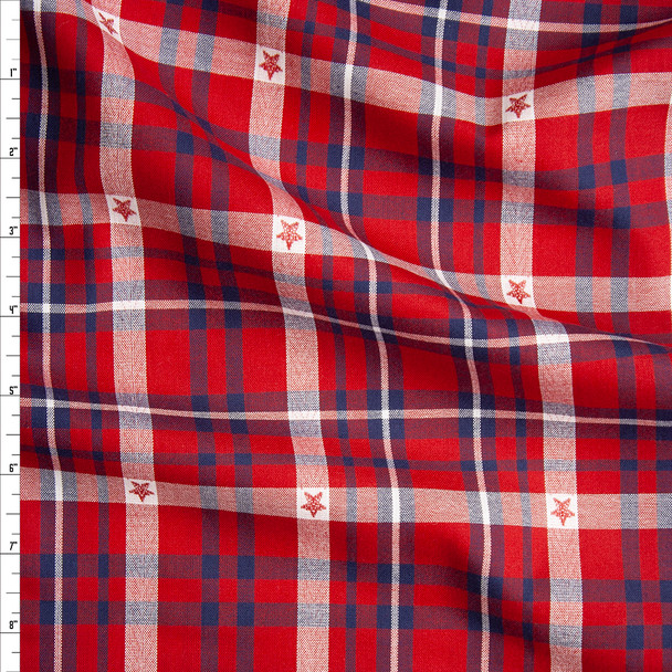 Patriotic Ponderosa Plaid Cotton Shirting from 'Robert Kaufman' Fabric By The Yard