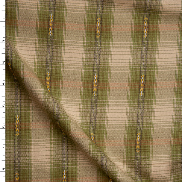 Olive and Tan Ponderosa Plaid Cotton Shirting from 'Robert Kaufman' Fabric By The Yard