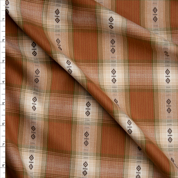 Camel and Tan Ponderosa Plaid Cotton Shirting from 'Robert Kaufman' Fabric By The Yard
