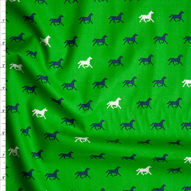 White and Navy Horses on Green 'London Calling' Cotton Lawn from 'Robert Kaufman' Fabric By The Yard