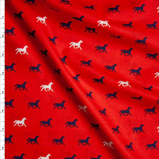White and Navy Horses on Red 'London Calling' Cotton Lawn from 'Robert Kaufman' Fabric By The Yard