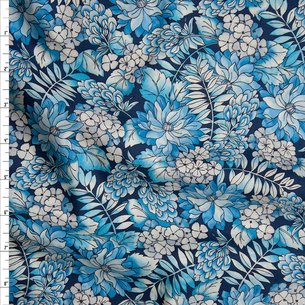 Blue Country Floral 'London Calling' Cotton Lawn from 'Robert Kaufman' Fabric By The Yard