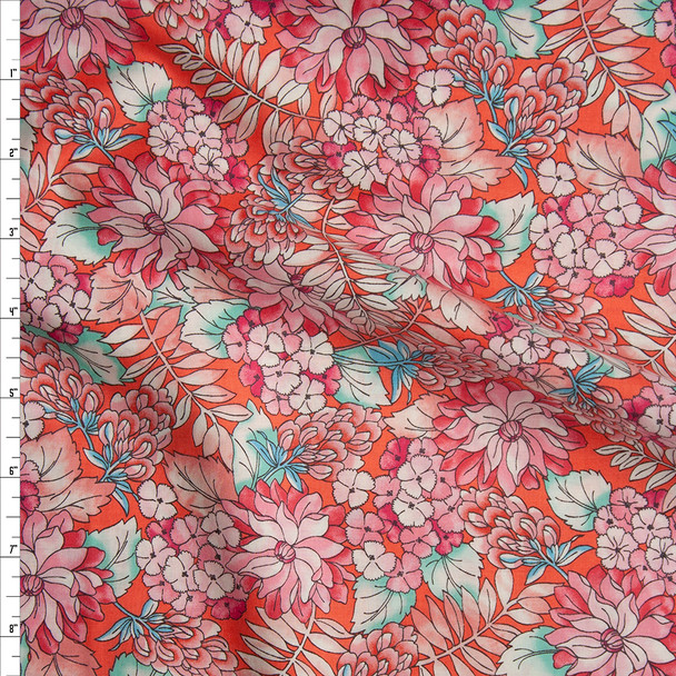 Coral Country Floral 'London Calling' Cotton Lawn from 'Robert Kaufman' Fabric By The Yard