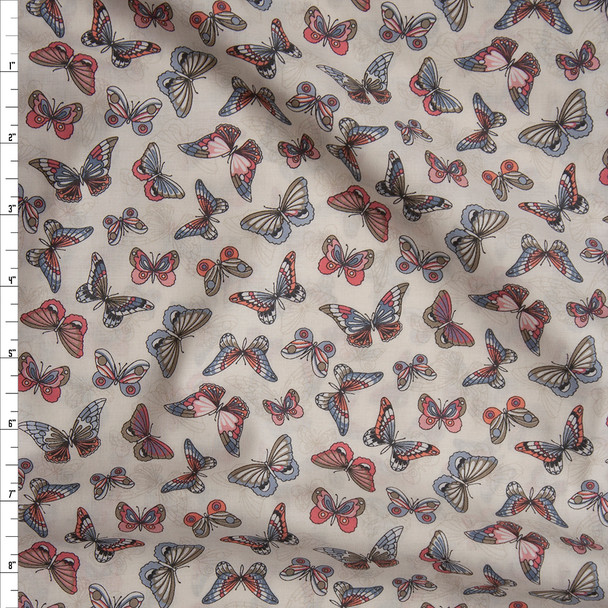 Pink, Grey, and Tan Butterflies on Offwhite 'London Calling' Cotton Lawn from 'Robert Kaufman' Fabric By The Yard