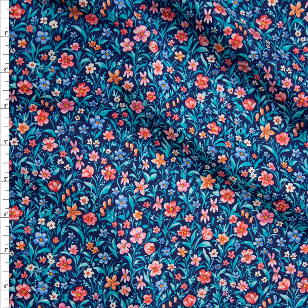 Pink, Teal, and Navy Spring Floral 'London Calling' Cotton Lawn from 'Robert Kaufman' Fabric By The Yard