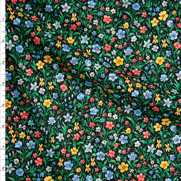 Red, Yellow, Blue, and Green Spring Floral on Black 'London Calling' Cotton Lawn from 'Robert Kaufman' Fabric By The Yard