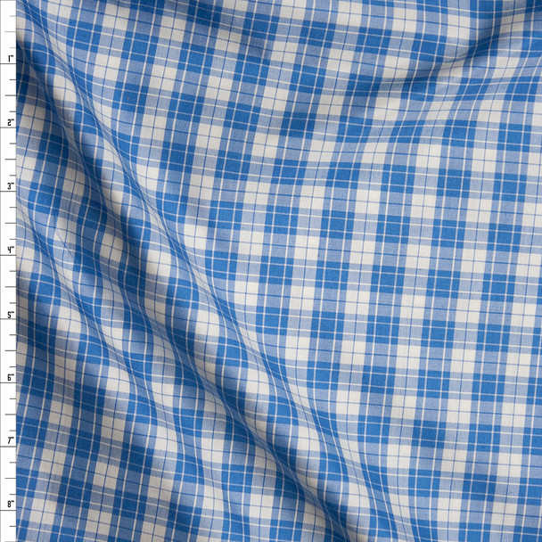 Sky Blue and White. Plaid Silk/Cotton Shirting from 'Calvin Klein' Fabric By The Yard