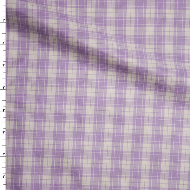 Lavender and White Plaid Silk/Cotton Shirting from 'Calvin Klein' Fabric By The Yard
