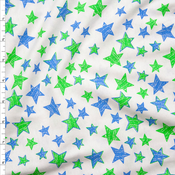Blue and Lime Hand Drawn Stars on White Cotton Jersey Knit Fabric By The Yard