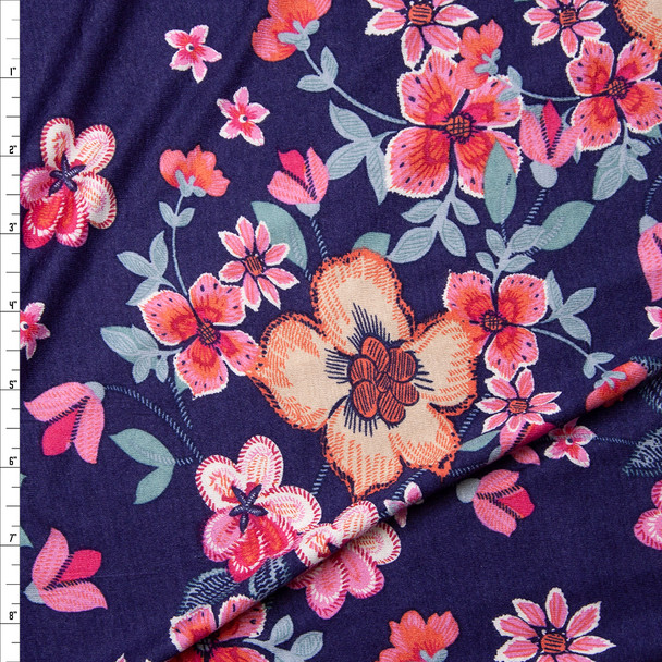 Pink, Seafoam, and Tan Floral on Dark Violet Stretch Rayon Jersey Knit Fabric By The Yard