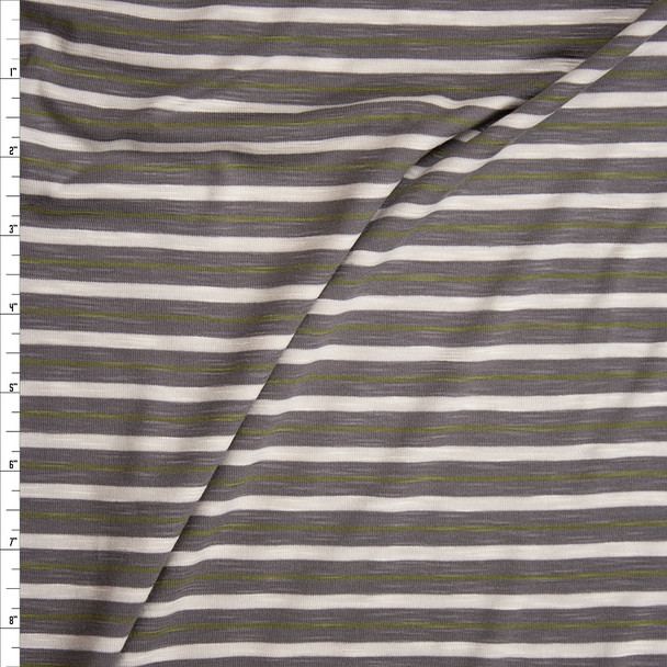 Taupe, Ivory, and Olive Stripe Slubbed Stretch Rayon Jersey Knit Fabric By The Yard