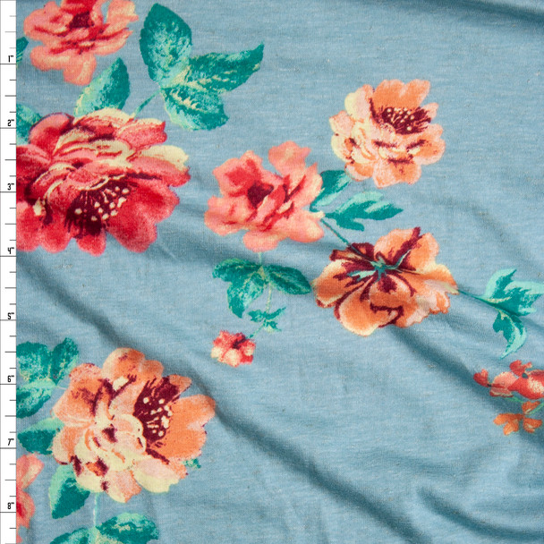 Pink and Peach Floral on Aqua Stretch Rayon Jersey Knit Fabric By The Yard