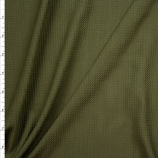 Solid Olive Green Bullet Liverpool Knit Fabric By The Yard