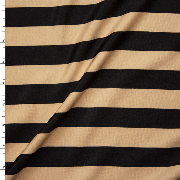 Tan and Black Stripes Scuba Knit Fabric By The Yard