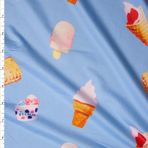 Ice Cream and Cookies on Light Blue Brushed Poly Spandex Knit Fabric By The Yard