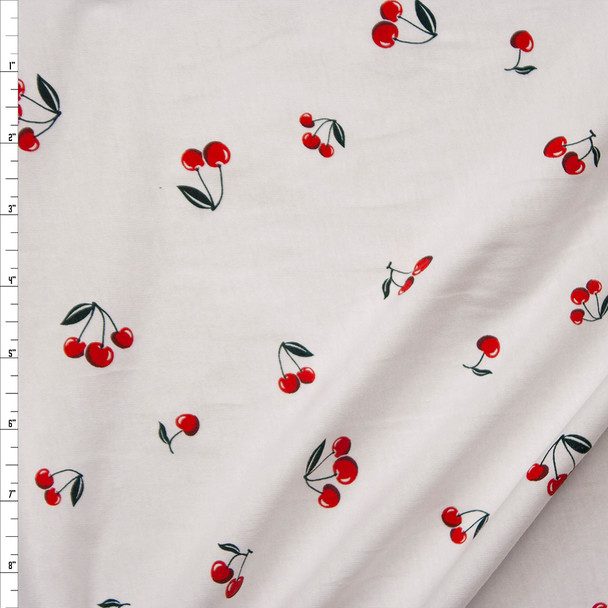 Cherries on White Cotton Jersey Knit Fabric By The Yard
