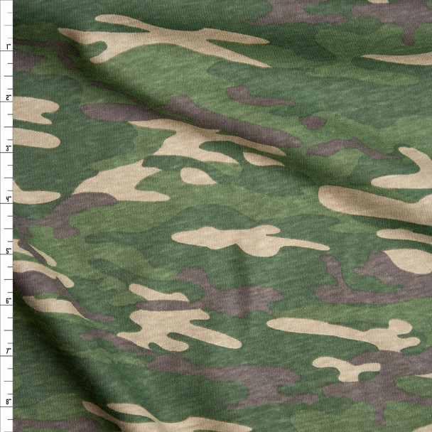 Forest Green, Tan, and Brown Camouflage Slubbed Cotton Jersey Knit Fabric By The Yard