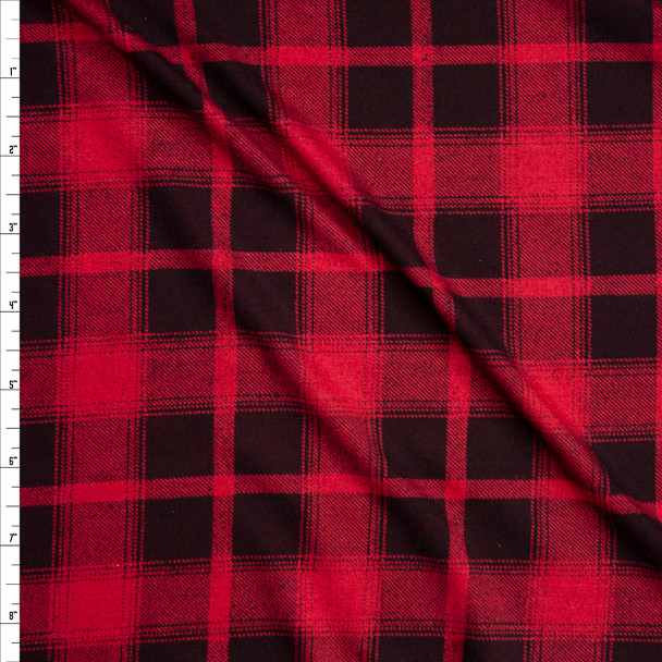 Red and Black Plaid Stretch Rayon Jersey Knit Fabric By The Yard