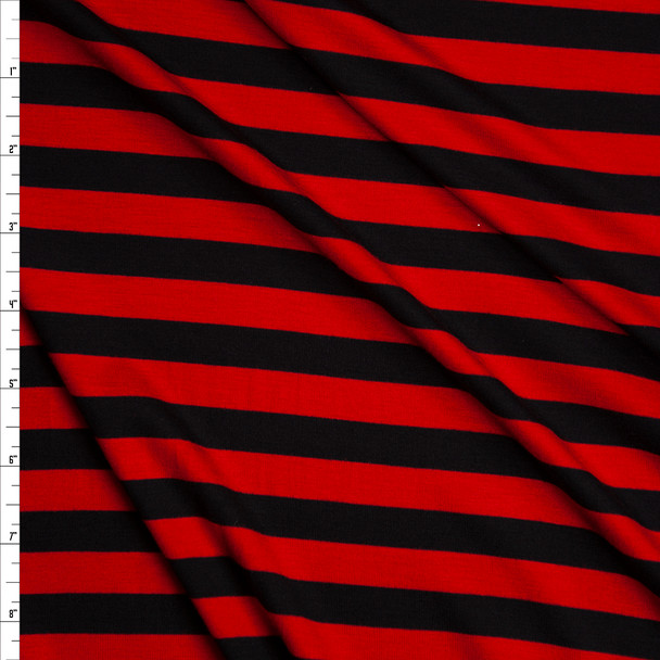 Red and Black Horizontal Stripe Stretch Rayon Jersey Knit Fabric By The Yard