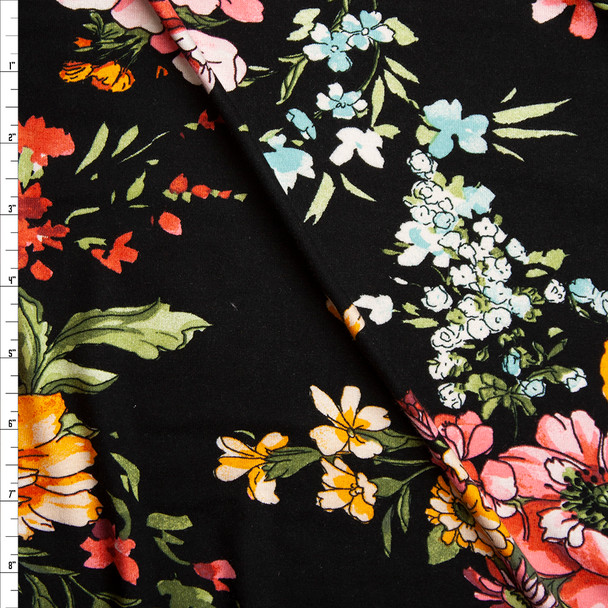 Spring Floral on Black Lightweight Stretch Rayon Jersey Knit Fabric By The Yard