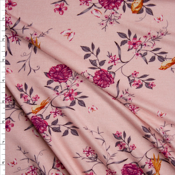 Yellow and Purple Floral on Pink Lightweight Stretch Rayon Jersey Knit Fabric By The Yard