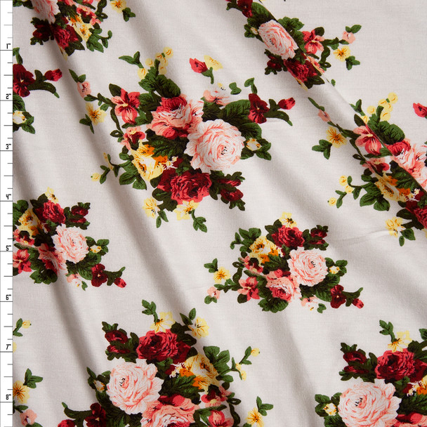 Floral Clusters on White Lightweight Stretch Rayon Jersey Knit Fabric By The Yard