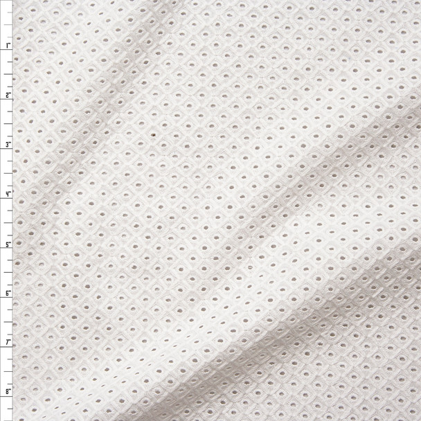Offwhite Diamond Pattern Cotton Eyelet Fabric By The Yard