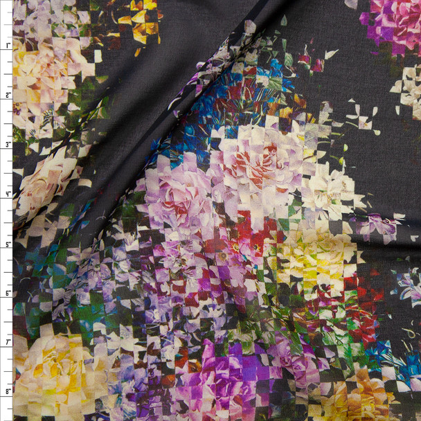 Colorful Pixelated Floral on Navy Chiffon Fabric By The Yard