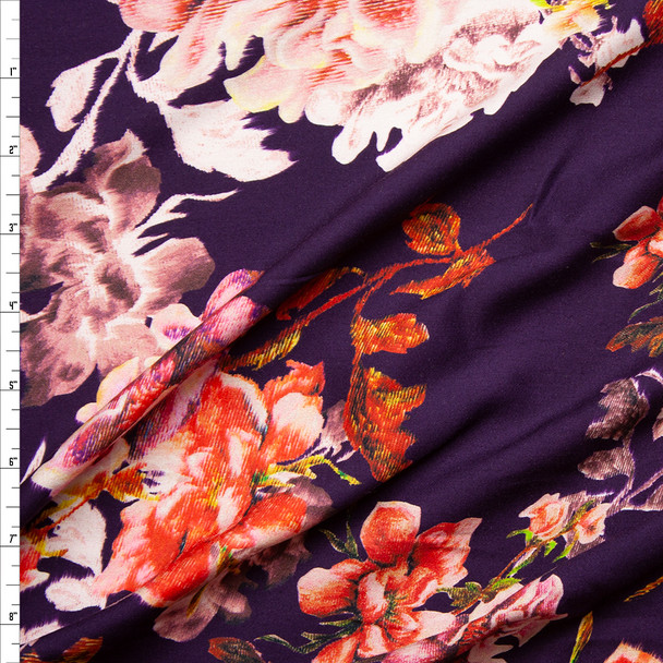 Colorful Grunge Floral on Plum Rayon Challis Fabric By The Yard