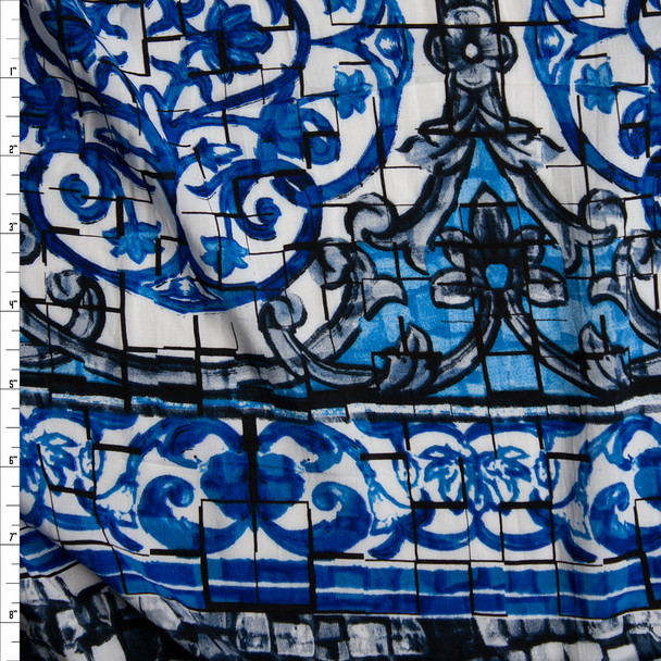 Blue, Grey, Black, and White Ornate Mosaic Rayon Challis Fabric By The Yard