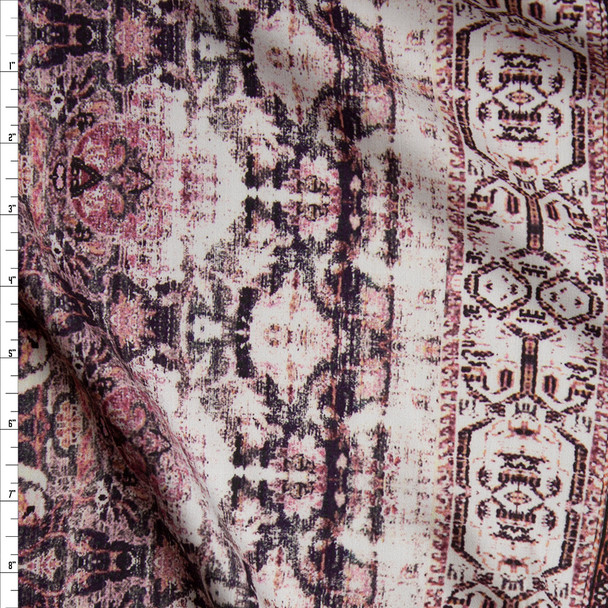 Grunge Pink Ornate Rayon Sateen Fabric By The Yard