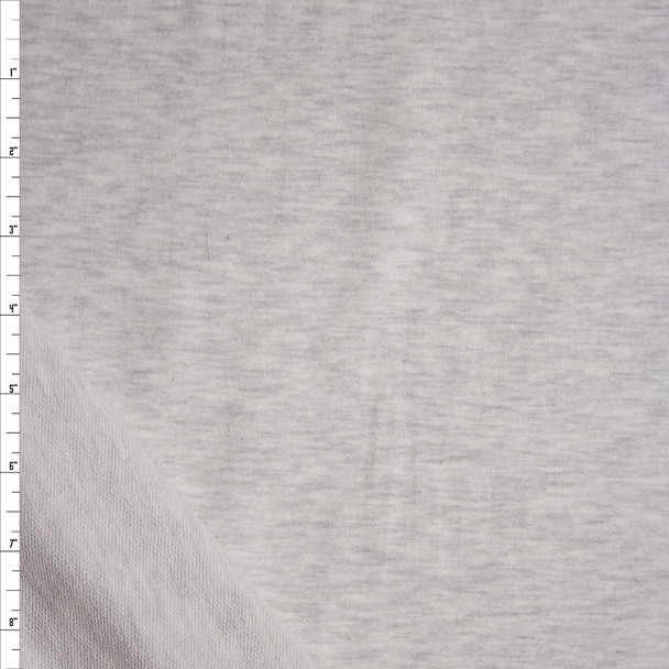 Light Grey Heather Stretch Cotton French Terry Fabric By The Yard