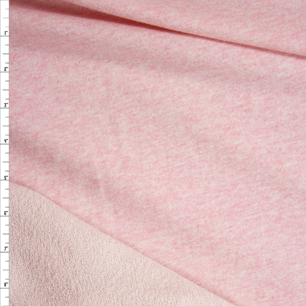 Pink Heather Cotton French Terry Fabric By The Yard