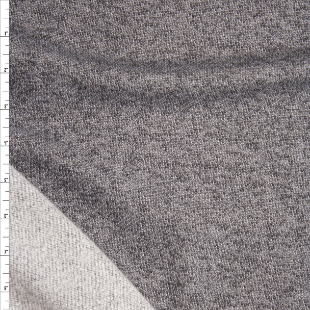 Medium Grey Heather Brushed Loop French Terry Fabric By The Yard