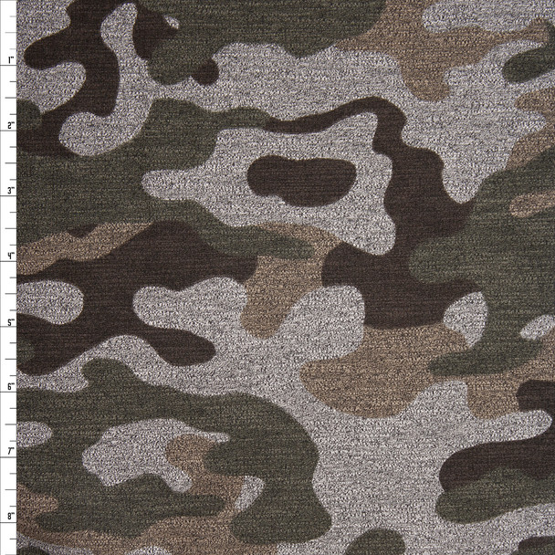 Olive, Tan, and Black Camouflage Print on Medium Heather Grey Stretch French Terry Fabric By The Yard