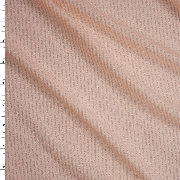 Peach Ribbed Waffle Knit Fabric By The Yard
