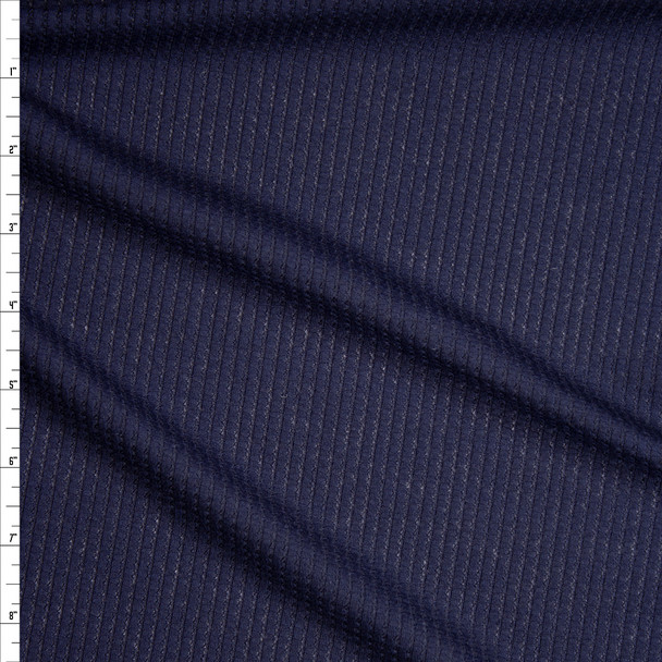 Navy Blue Ribbed Waffle Knit Fabric By The Yard