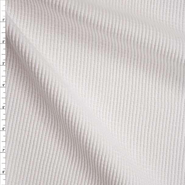 White Heavyweight Cotton Waffle Knit Fabric By The Yard