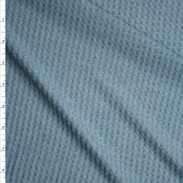 Teal Grey Brushed Soft Waffle Knit Fabric By The Yard