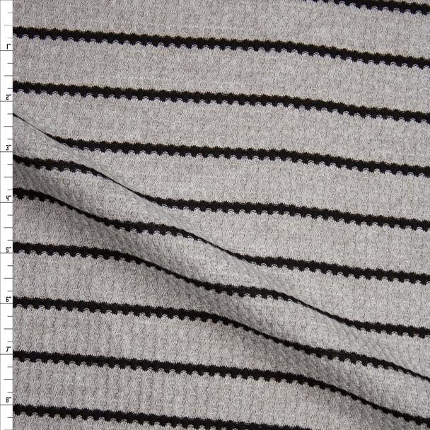 Black on Heather Grey Stripe Soft Waffle Knit Fabric By The Yard
