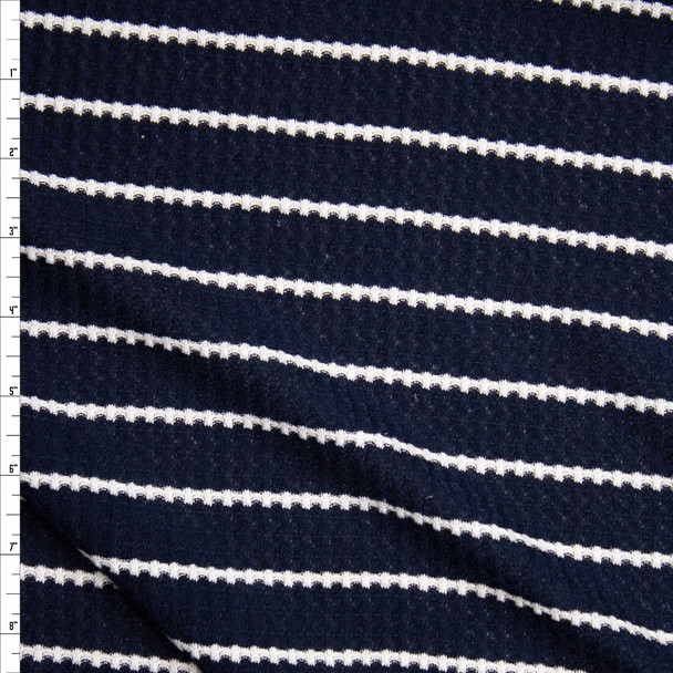 White on Navy Stripe Soft Waffle Knit Fabric By The Yard