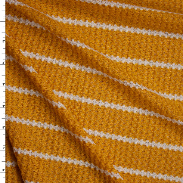 White on Mustard Stripe Soft Waffle Knit Fabric By The Yard