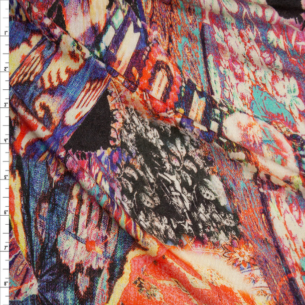 Mixed Pattern Abstract Stretch Rayon Hacci Knit Fabric By The Yard
