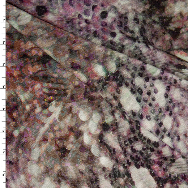 Plum Abstract Snakeskin Look Stretch Rayon Hacci Knit Fabric By The Yard