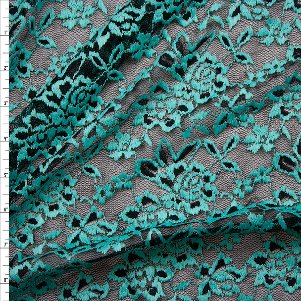 Mint on Black Floral Lace Fabric By The Yard